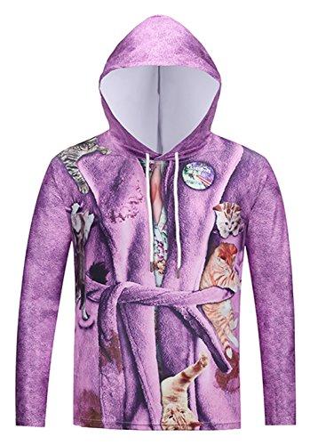 Pizoff Unisex Hip Hop cosplay Sweatshirt Maskerade Kapuzenpullover mit Bunt 3D Pyjamas katzen Digital Print (Large Gucci Tote)