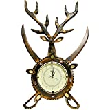 BRK Handicraft Decorative Wall Clock Living Room Large For Home Antique Wooden Handmade Deer Head Wall Clock