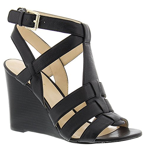 Nine West Farfalla Cuir Sandales Compensés Black2 Leather