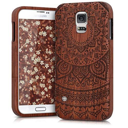 kwmobile Samsung Galaxy S5 / S5 Neo Hülle - Handy Schutzhülle aus Holz - Cover Case Handyhülle für Samsung Galaxy S5 / S5 Neo (Galaxy S5 Holz Case Mandala)