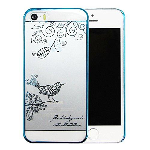 iPhone 6Plus/iPhone 6S Plus 14cm Transparent Coque PC, newstars Boîtier PC Coque arrière rigide transparent avec design papillon Motif oiseau diamant bling Glitter Argent Or Plaqué avec Bumper pour  Bird Blue