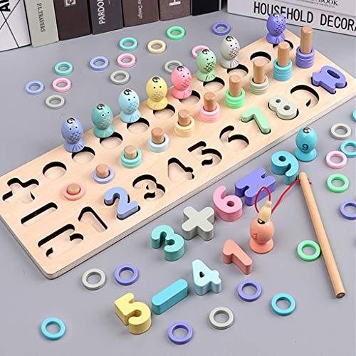 lailongp Vorschul-Holzspielzeug, digital, passendes Angelbrett, Spielzeug für frühzeitige Bildung und Mathematik