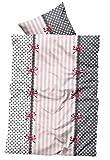 Leonado Vicenti Microfaser Bettwäsche cm rosa weiß anthrazit gestreift Punkte Bettbezug 135x200 cm + Kissenbezug 80x80 cm mit Reißverschluss, Anzahl Set:2 tlg. 135x200