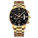 Relojes Pulsera Tres Sub-dials Cronógrafo Calendario Cuarzo Relojes Hombre Correa de Acero Inoxidable Elegante, Dorado-Negro