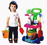 Mommy's Little Helper Complete Cleaning Trolley Cart Children Kids Girl Boys Pretend Play Cleaning Toy Cleaning Play Set with Cart, Broom, Mop, Bucket, Dust Pan, Brush, Cleaning Rag, Mock Soap Bottle