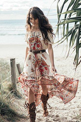 YOUJIA Damen Schulterfrei Strandkleid Boho Asymmetrisch Gedruckt Kleid, Crop Top + Lange Röcke Phoenix Gedruckt