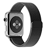 Apple Watch Armband, mit Einzigartige Magnet-Verschluss, JETech 38mm Replacement Wrist Band Uhrenarmband für Apple Watch 38mm Alle Modelle Keine Schnalle Benötigt (Schwarz)