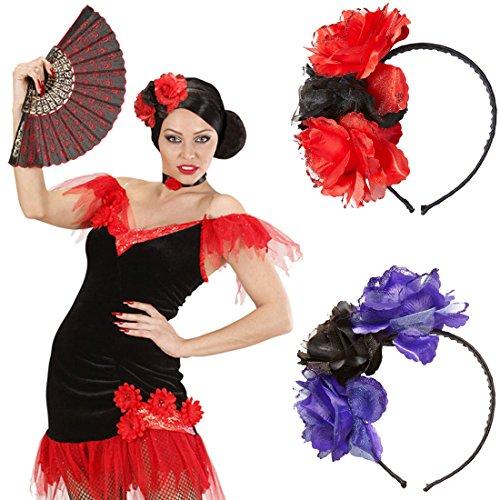 Rosen Haarreif Blumen Haarschmuck rot-schwarz Tag der Toten Haarreifen Rose Dia de los Muertos Kopfschmuck Halloween Gothic Schmuck La Catrina Diadem