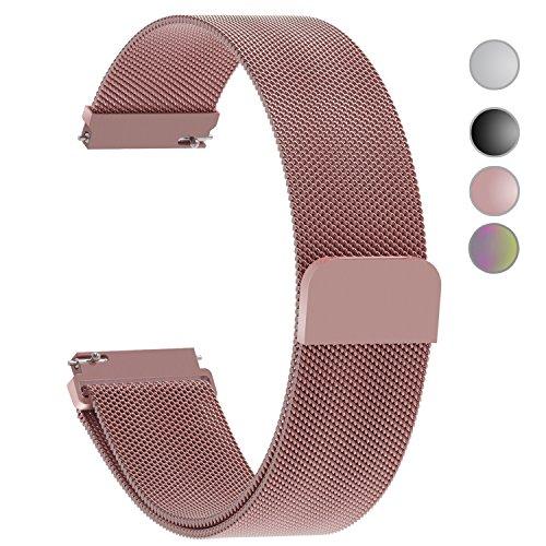 5 Farben Für Milanese Uhrenarmband, Fullmosa® Milanese Smart Watch Armband Ersatzband mit Edelstahl Magnet-Verschluss Watch Replacement für 22mm Rosa 22mm Rosa Uhrenarmband