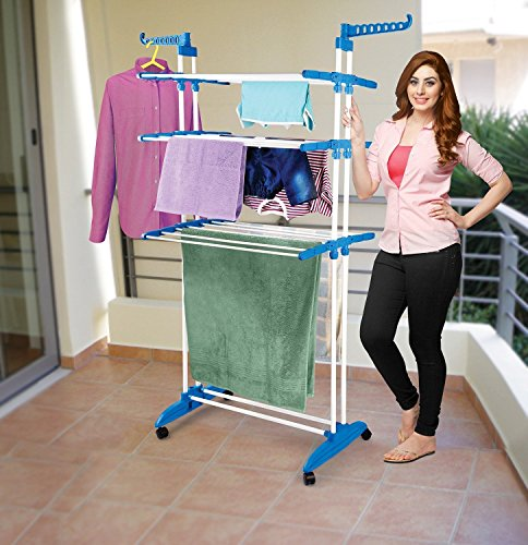 Parasnath 2 Poll Jumbo / Prince Jumbo Hi-Quality Three Layer Clothes Rack Hanger with Wheels for Drying Clothes (Lifetime Warranty*MADE IN INDIA)
