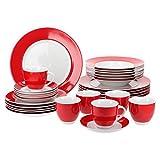 Van Well Kombiservice 30-tlg. für 6 Personen Serie Vario Porzellan - Farbe wählbar, Farbe:rot
