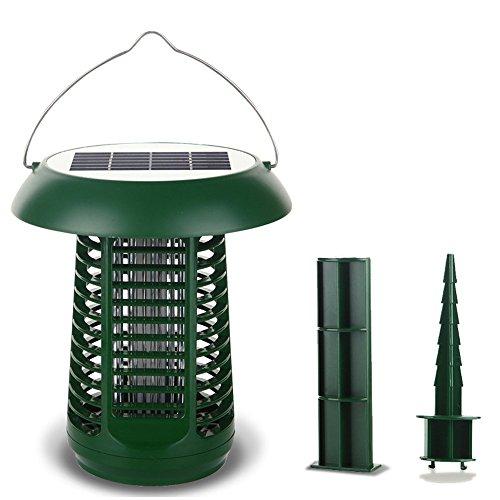 Solar Powered Bug Zapper Licht, 50㎡ Reichweite Mosquito Insektenkiller Outdoor Wasser Beständig Dämpfer Innen und Outdoor Laterne Dual Zweck Portable Garten Rasen Licht