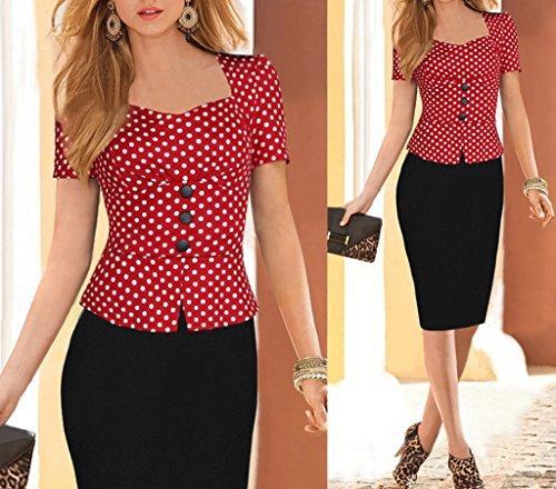 Smile YKK Robe de Soirée Femme Coton Faux 2 Pièces Robes Manches Courtes Cocktail Bureau Elégant Pois Rouge