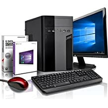 Komplett Flüster-PC Paket Intel Quad-Core Office/Multimedia shinobee Computer mit 3 Jahren Garantie! inkl. Windows10 Professional - INTEL Quad Core 4x2.41 GHz, 4GB RAM, 320GB HDD, Intel HD Graphics, USB 3.0, HDMI, VGA, Office, 19-Zoll LED TFT Monitor, Tastatur+Maus #5139