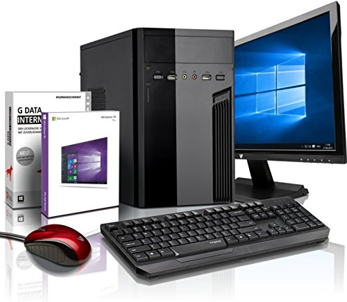 Komplett Flüster-PC Paket Intel Quad-Core Office/Multimedia shinobee Computer mit 3 Jahren Garantie! inkl. Windows10 Professional – INTEL Quad Core 4×2.41 GHz, 4GB RAM, 320GB HDD, Intel HD Graphics, USB 3.0, HDMI, VGA, Office, 19-Zoll LED TFT Monitor, Tastatur+Maus #5139