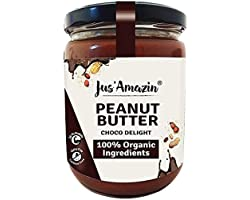 Jus' Amazin Creamy Organic Peanut Butter – Choco Delight (500g) | 26% Protein | Plant-Based Nutrition | Zero Chemicals | Vega