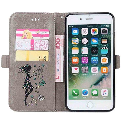 iPhone 7 Plus Hülle,MSK® iPhone 7 Plus Handyhülle Wallet Case Cover Tasche [Schmetterlings Mädchen] Brieftasche Flip Hülle im Bookstyle Cover Schale Etui Karten Slot Schutzhülle Für iPhone 7 Plus Lede Grau