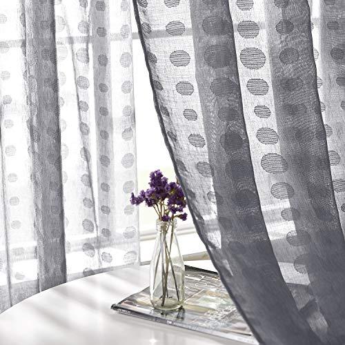 Deconovo Tende Trasparenti in Voile Ricamate per Camera da Letto con Anelli 140x183cm Grigio 2 Pannelli