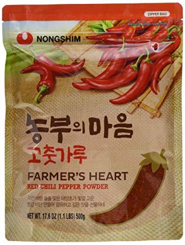 (Nong Shim Farmer's Heart Red Chili Pepper Powder – Rotes Paprikapulver zum Würzen zahlreicher Gerichte – 4 x 500g in einer wiederverschließbaren Verpackung)