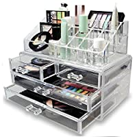 Best Clear Acrylic Cosmetic Organiser with Drawers Makeup Jewelry Display Box Case
