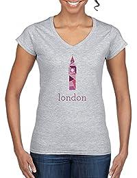 Big Ben London V-Cuello Camiseta Para Mujer Gris Todos Los Tamaños | Women's V-Neck T-Shirt Grey