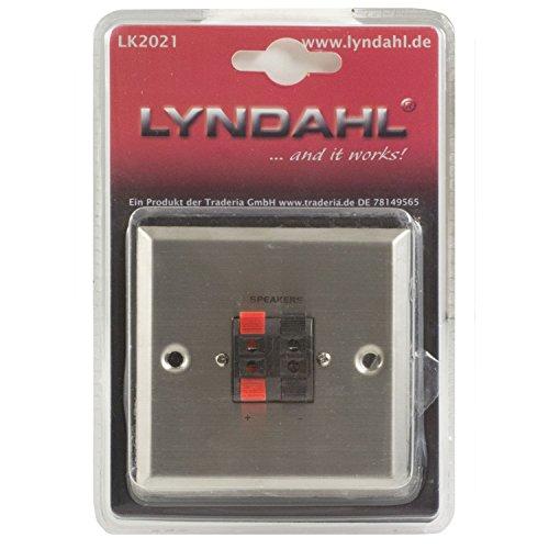 Lyndahl Lautsprecher Wandeinbaudose, 2fach, aus matt gebürstetem Edelstahl mit Klemmanschlüssen für Zwei Lautsprecher,Lautsprecherdose geeigent für Unterputzdose