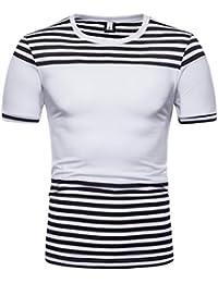 11192e22847e5 Longra Shirt Hommes Décontractée Bande Imprimé O Cou Tee Shirt Hommes Tank  Tops Solide Manches Courtes
