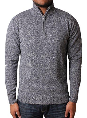 Mens Jumper Funnel Neck Half Zip Cotton Sweater Knitwear Threadbare IMT 096, Denim, X-Large