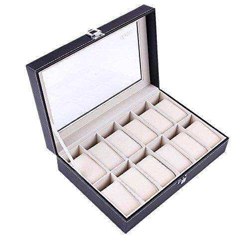 Ohuhu® 12-Slot Leder Uhrenbox, Uhrenschatulle, Uhrenkasten, Schmuckschatulle, Schmuck-Uhr-Anzeigen-Speicher mit Glasplatte und 12 Removal Speicher Kissen, Schwarz