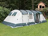 skandika Hurricane 12 Personen Familien-Zelt grün, wasserdicht durch starke 5000 mm Wassersäule. Großes, geräumiges und robustes Steilwand-Zelt, Tunnel-Zelt mit 4 Schlaf-Kabinen, Insekten-Netzen und über 2 m Stehhöhe -