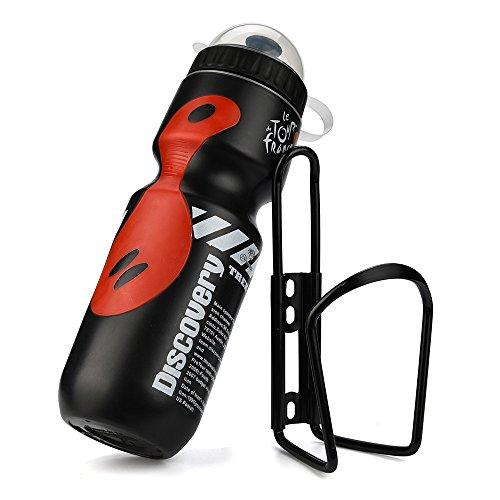 LEvifun Fahrrad Flaschenhalter Aluminum Metall Topcage mit 650ml Wasserkocher Flasche Halter Mountain Straße Fahrrad Radfahren Zubehör C5 (Schwarz)