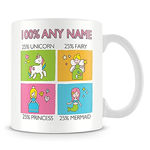 25% Unicorn, 25% Fairy, 25% Princess , 25% Mermaid Mug - Personalised Gift - Add Name and Text - Customised Cup with