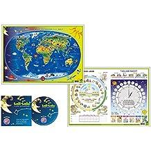 Kinderweltkarte/Das Jahr - Tag und Nacht Schreibunterlage mit Musik-CD