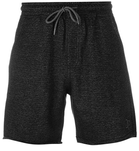 mens-casual-lightweight-2-tone-fleece-shorts-bottoms-large-black-grey