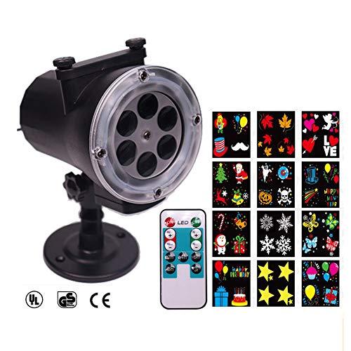 Highlight Snow Projektor Security Timer HD Weihnachtsbeleuchtung Wasserdicht IP65 Mit Fernbedienung-12 Modus Rotierende Spotlight-Bodeneinlage Passend Für Festival Christmas Party Garten Dekoration