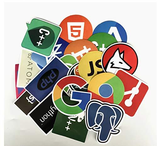 YLGG 50 Stücke Internet Programmierung Aufkleber Java JS PHP HTML Cloud Docker Bitcoin Programmiersprache APP Logo Laptop Aufkleber