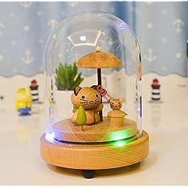 Driverder Decorazione Regalo Scatola Musicale Unisex Music Box in Legno Lavorato a Mano con Luce a LED a Tre Colori per Il Regalo di Compleanno Decorazione-Ombrello e Gatto