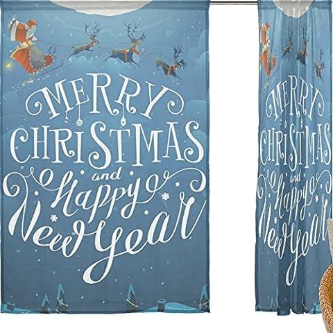 jstel Joyeux Noël Lot de 2voile rideau fenêtre, neige Silent Night Père Noël Père Noël Elk, en tulle Transparent Rideau Drapé Lit 139,7x 198,1cm deux panneaux de, Polyester, bleu, 55x84x2(in)
