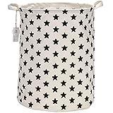Sea Team 50 cm, portabiancheria di grandi dimensioni, rivestimento impermeabile, in tessuto di cotone ramia, pieghevole, secchio cilindrico di tela, cesta portaoggetti, con elegante motivo a stelle Black Star
