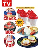 from Loi Stu Egg Cooker, Loi Stu 6 Pieces Egg Cooking Molds Hard Boiled Eggs without Shell, AS SEEN ON TV (Red)