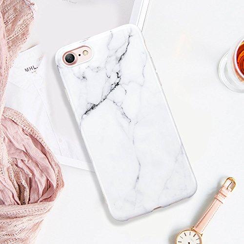 Coque iPhone 7 Marbre, ESR iPhone 7 Coque Silicone Motif Marbre, Housse Etui de Protection Bumper en TPU Souple Lustré [Anti Choc] [Anti Rayures] [Ultra Fine] [Ultra Léger] pour Apple iPhone 7 4,7 pou Blanc Arabescato