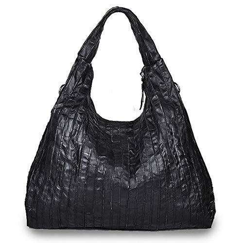 YOLE Große Kapazität Messenger Ledertasche, Reisen Shopping Knödel Schwarz Big Bag Designer Schulter Lammfell Tote Zipper Luxus-Accessoires,Black -