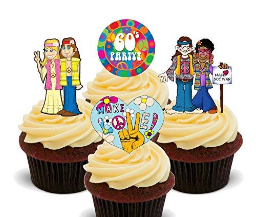 Frieden und Liebe, 60er Jahre Hippies essbare Kuchendekorationen-aufrecht stehendes Esspapier, Dekoration für Cupcakes, 12er-Pack (Cupcake Kostüm Bilder)