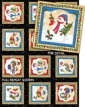 Schneemann Platten auf Schwarz Baumwolle Quilten Stoff-15-Paneele-Weihnachten -