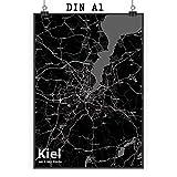 Mr. & Mrs. Panda Poster DIN A1 Stadt Kiel Stadt Black - Stadt Dorf Karte Landkarte Map Stadtplan Poster, Wandposter, Bild, Wanddeko, Wand, XXL, Riesig, DIN A1, XL, Poster, Motiv, Spruch, Kinderzimmer, Einrichtung, Wohnzimmer, Deko, DIN, A1, Fan, Fanartikel, Souvenir, Andenken, Fanclub, Stadt, Mitbringsel
