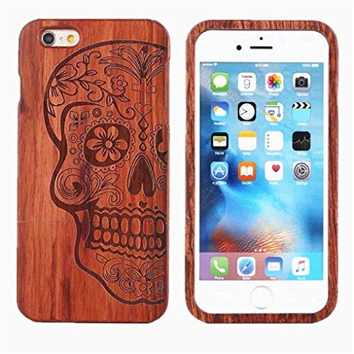 Minifamily® Handgemachter Natürlicher Realer Bambusholz Hölzerner Harter Fall Abdeckung Rosenholz Entwurf Schädel für Apple iPhone 5 / 5s / SE