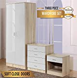 OSSOTTO HIGH GLOSS 3 Piece Bedroom Furniture Set - Includes Soft Close Wardrobe, 4 Drawer Chest & Bedside Cabinet (White on Oak)