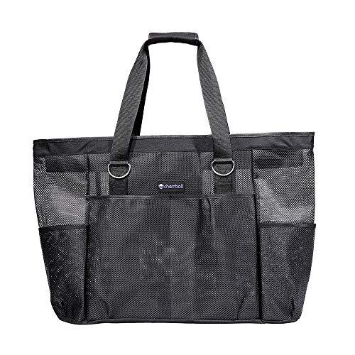 OOSAKU Mesh Strandtaschen Tote Shopping Travel Picknick Lebensmittelgeschäft Lagerung Handtaschen mit übergroßen Taschen Reißverschlüsse (Schwarz B, XXL)