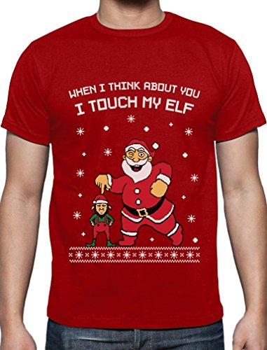 When I think About You I Touch My Elf - Lustiges Ugly Christmas Shirt T-Shirt Rot