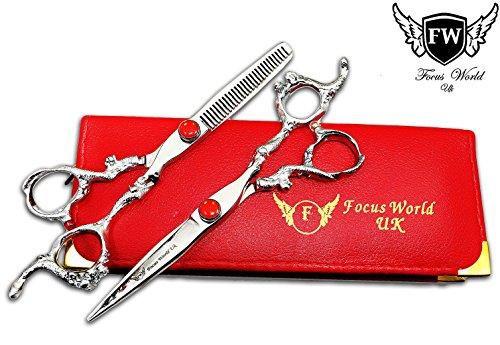 F/W Poignée de dragon de coiffure Barber Salon Ciseaux, ciseaux à effiler Set 16,5 cm, J2 en acier avec vis de diamant Plus Ciseaux Pouch/Case